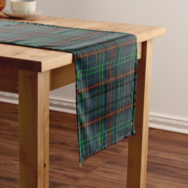 Tartan in blue, orange, green... short table runner