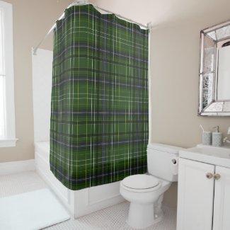 Tartan in green shower curtain