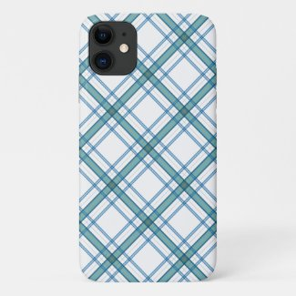 Tartan in turquoise... iPhone 11 case