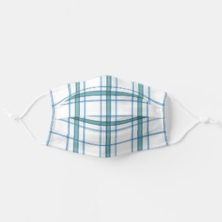 Tartan in turquoise cloth face mask