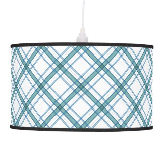 Tartan in turquoise diagonal ceiling lamp