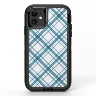 Tartan in turquoise diagonal OtterBox defender iPhone 11 case