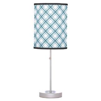 Tartan in turquoise diagonal table lamp
