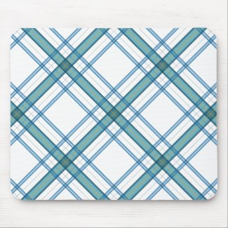Tartan in turquoise mouse pad