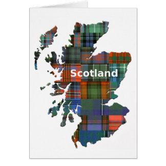 Tartán multi del mapa de Escocia Tarjeta De Felicitación