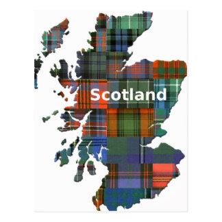 Tartán multi del mapa de Escocia Tarjeta Postal