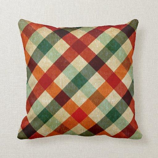 Tartán multicolor de la almohada