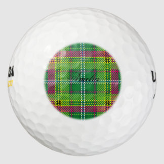 Tartan,multicolor,trendy, green,red,yellow,white, pack of golf balls