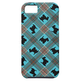 Tartán negro de la tela escocesa del perro del iPhone 5 fundas