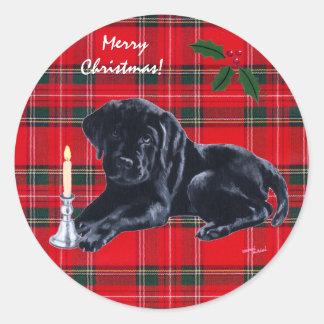 Tartán negro de los pegatinas del navidad del perr