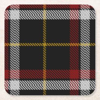 Tartán negro del clan posavasos personalizable cuadrado