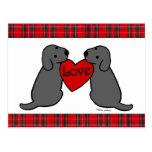 Tartán negro del dibujo animado de dos Labradors Postal