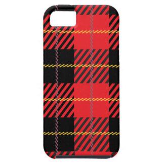 Tartán negro y rojo iPhone 5 funda