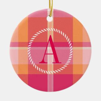 Tartan Orange and Pink Monogram ID210 Ceramic Ornament