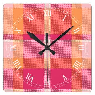 Tartan Orange and Pink Monogram ID210 Square Wall Clock