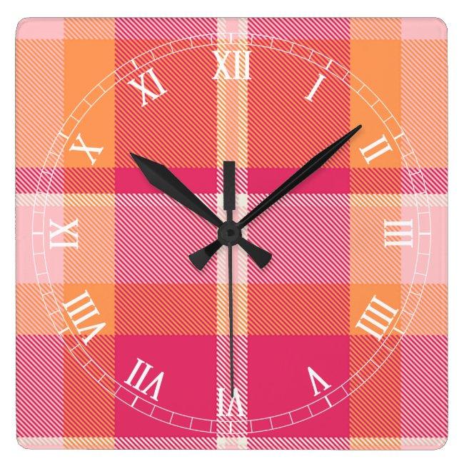 Tartan Orange and Pink Monogram ID210