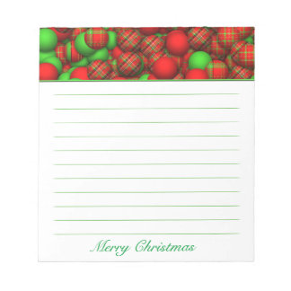 Tartan Pattern Christmas Tree Ornaments Memo Pad