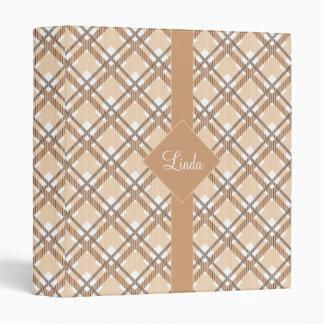 Tartan pattern of stripes and squares binder
