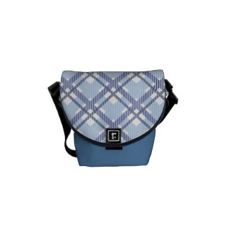 Tartan pattern of stripes and squares courier bag