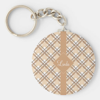 Tartan pattern of stripes and squares keychain