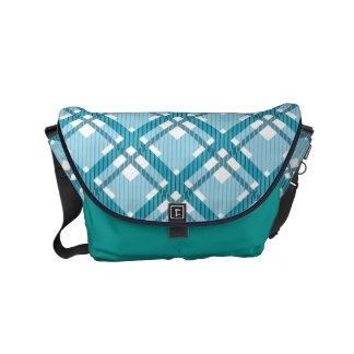Tartan pattern of stripes and squares small messenger bag