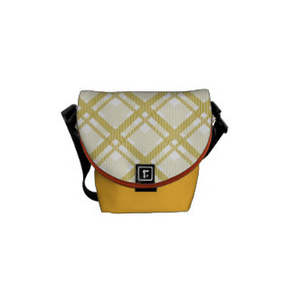 Tartan pattern of stripes and squares courier bags