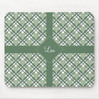 Tartan pattern of stripes and squares mouse pad