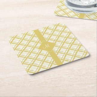 Tartan pattern of stripes and squares square paper coaster
