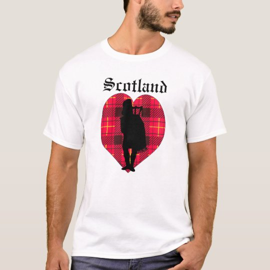 Tartan Piper Scotland heart Tee