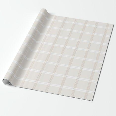 Tartan Plaid Beige & White No. 49 Wrapping Paper