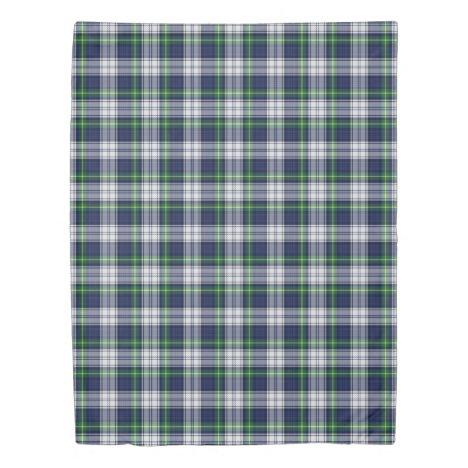 Tartan Plaid Blue Green White Duvet Cover