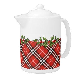 Tartan Plaid Holiday Teapot with Holly - Medium