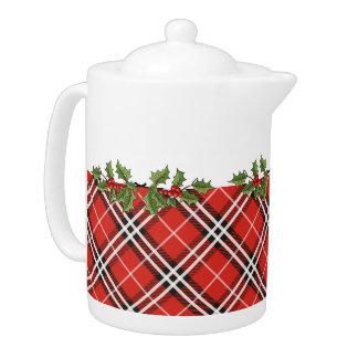 Tartan Plaid Holiday Teapot with Holly -Medium