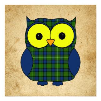 Tartan Plaid Owl V7 Birthday Personalized Invitations