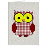 Tartan Plaid Owl V8 Birthday Card