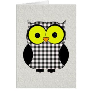 Tartan Plaid Owl V9 Birthday Card