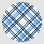 Tartan Plaid Pattern Collection - Blue - 02 Classic Round Sticker
