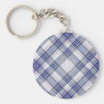 Tartan Plaid Pattern Collection - Blue 03 Key Chains