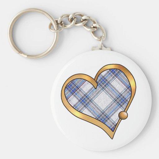 Tartan Plaid Pattern Collection - Blue 03 Keychains