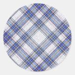 Tartan Plaid Pattern Collection - Blue 03 Round Sticker