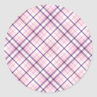 Tartan Plaid Pattern Collection - Pink 05 Classic Round Sticker