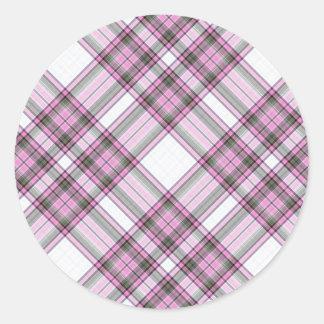 Tartan Plaid Pattern Collection - Pink 06 Classic Round Sticker