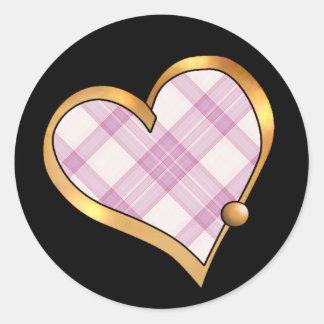 Tartan Plaid Pattern Collection - Pink 07 Classic Round Sticker
