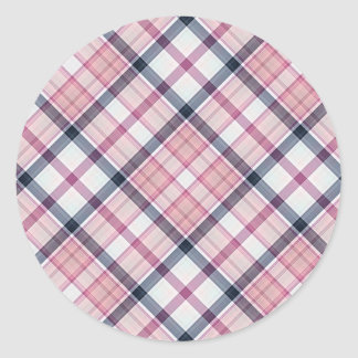 Tartan Plaid Pattern Collection - Pink 08 Classic Round Sticker