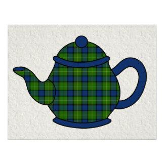Tartan Plaid Teapot Tea Custom Invite