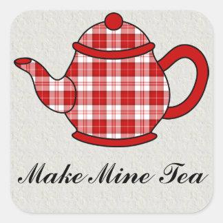 Tartan Plaid Teapot V2 Square Sticker