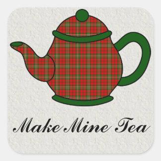 Tartan Plaid Teapot V5 Square Sticker