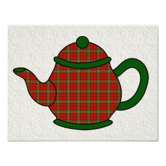 Tartan Plaid Teapot V5 Tea 4.25x5.5 Paper Invitation Card