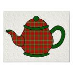 "Tartan Plaid Teapot V5 Tea 4.25"" X 5.5"" Invitation Card"