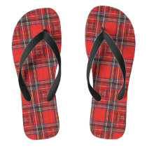 Tartan plaids pattern royal red fabric flip flops